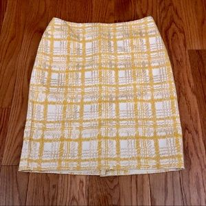 TALBOTS Yellow/Cream Textured Plaid Pencil Skirt